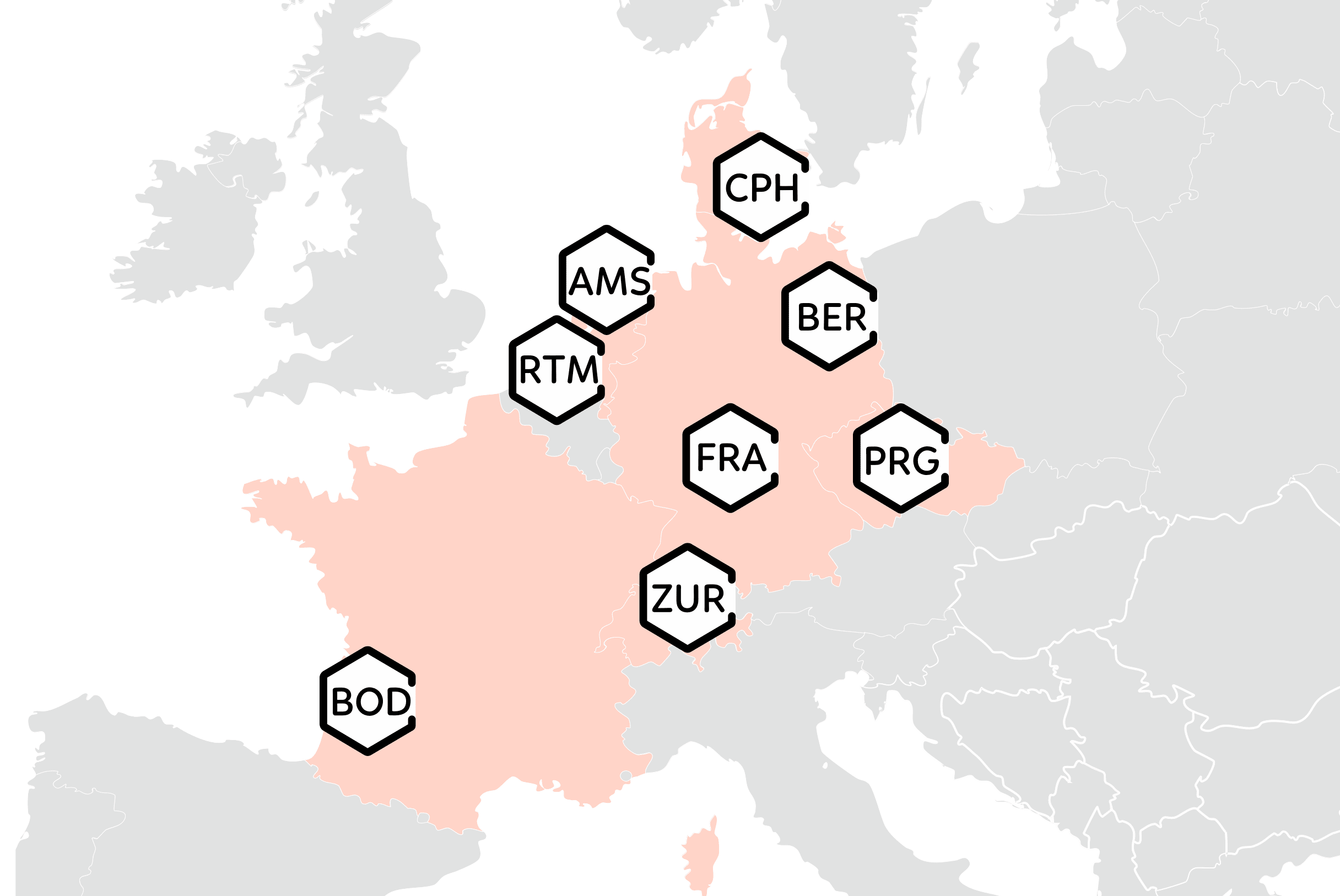 Map of Narcotic City Case Studies in European Cities